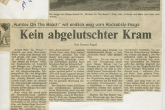 Presse – Rumble On The Beach Archiv - Kurier am Sonntag - 1986