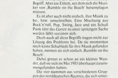 Presse – Rumble On The Beach Archiv - Presseinfo - 1986