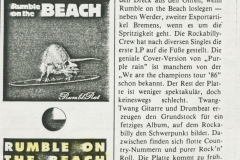 Presse – Rumble On The Beach Archiv - Frankfurter Stadtzeitung - 1987