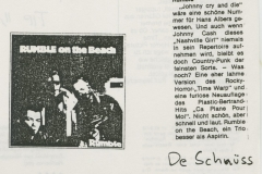 Presse – Rumble On The Beach Archiv - de schnüss - 1988
