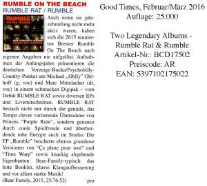 Rumbel On The Beach - Good Times - Februar/März 2016