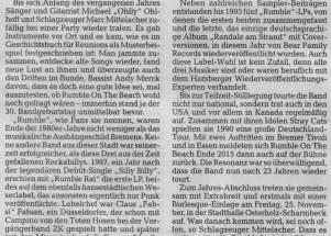 Zeit für neue Randale –  Rumble On The Beach gehen wieder auf Tournee – Weser Kurier Nov. 2016