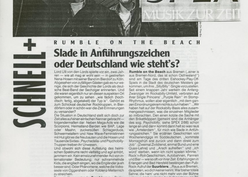 Presse – Rumble On The Beach Spex Interview 1986 – Spex 1986
