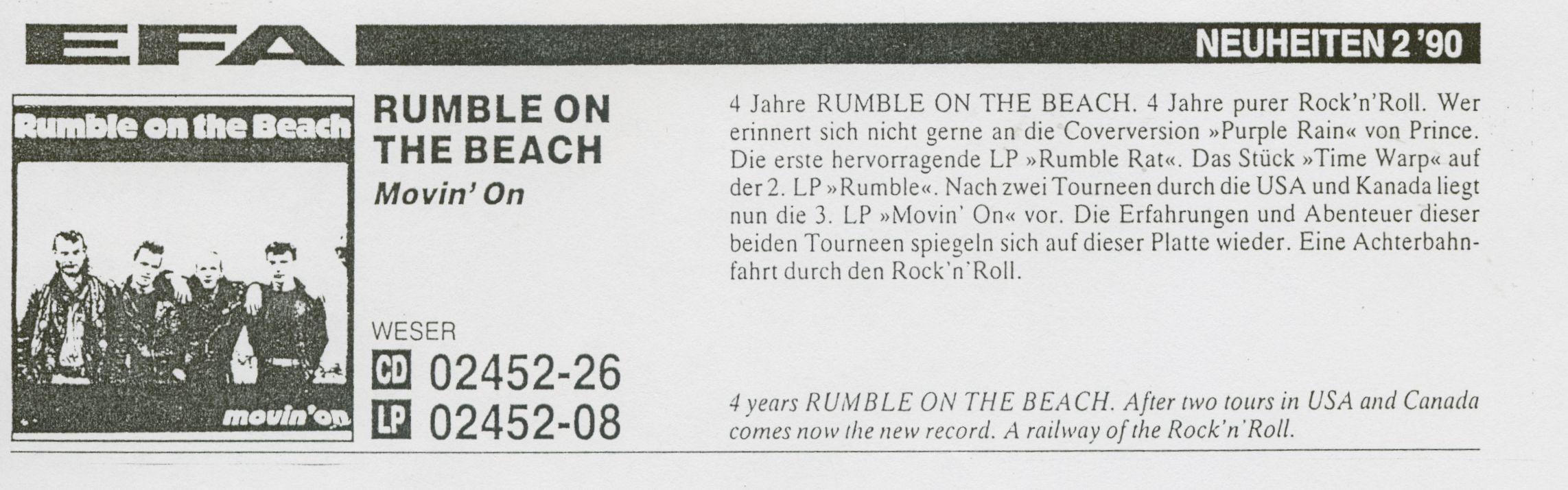 Presse – Rumble On The Beach Archiv - Februar 1990 – EfA Neuheiten 2'90
