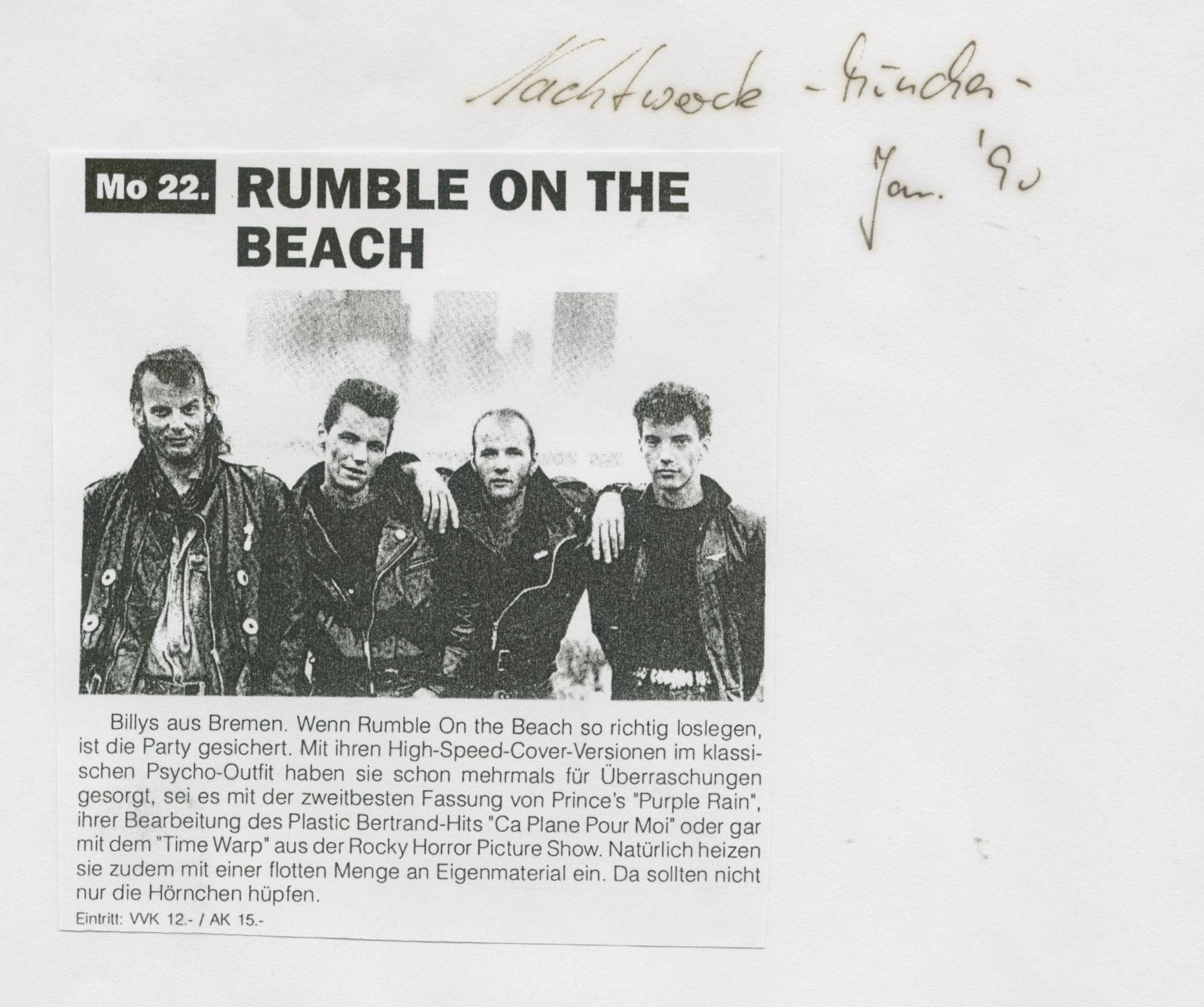 Rumble on the Beach Nachtwache München Januar 1990
